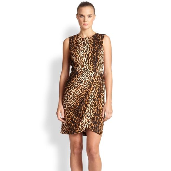 Shoshanna Sleeveless Cheetah Print Midi Dress